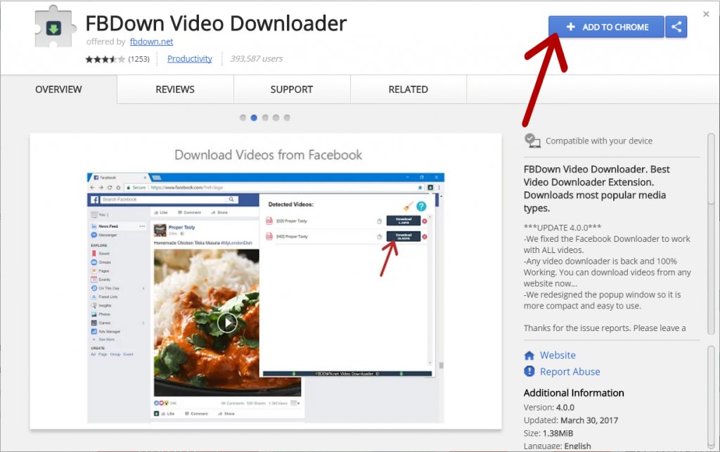 Facebook Video Downloader Chrome Extension