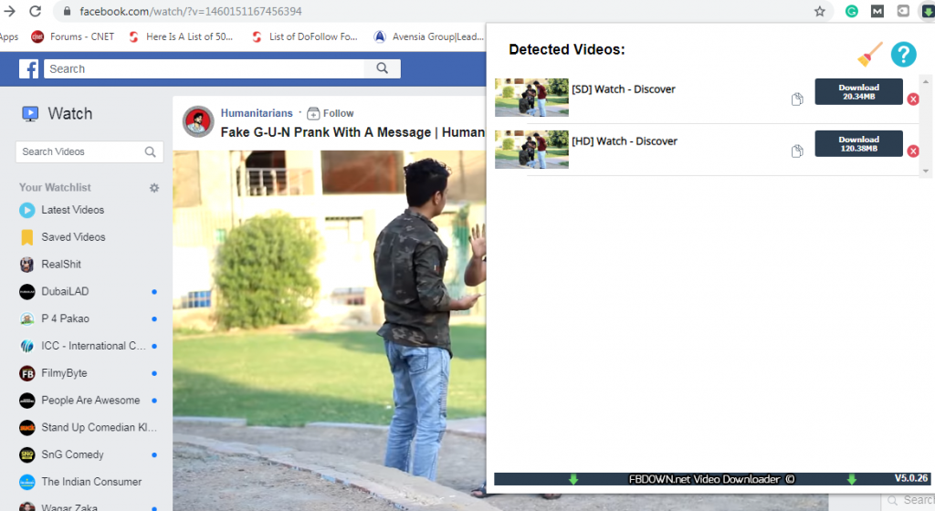 Video to download on Facebook Extension