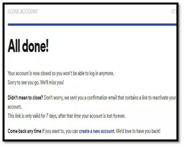 Spotify Account close notice